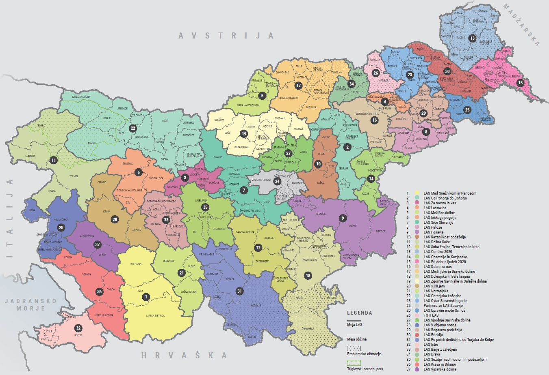Zemljevid 37 lokalnih akcijskih skupin oziroma LAS, ki pokrivajo celotno območje in vse slovenske občine.